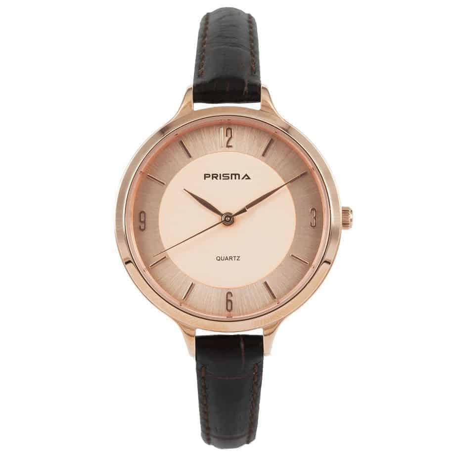 Prisma-P8394-dames-horloge-leer-staal-bruin-rosegoud-l
