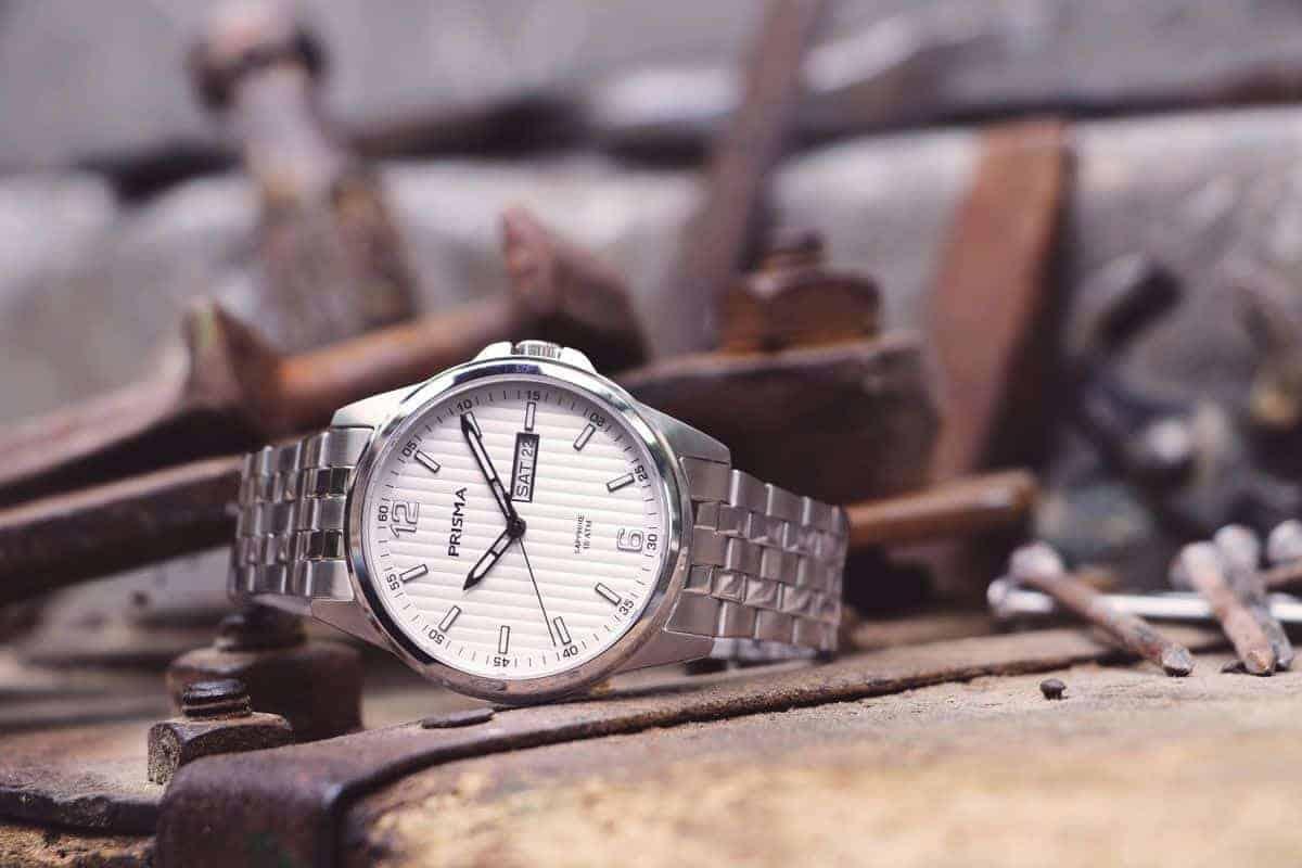 Prisma Horloge Pattern Steel Wit werkhorloges werkhorloge kwaliteitshorloge werk horloge