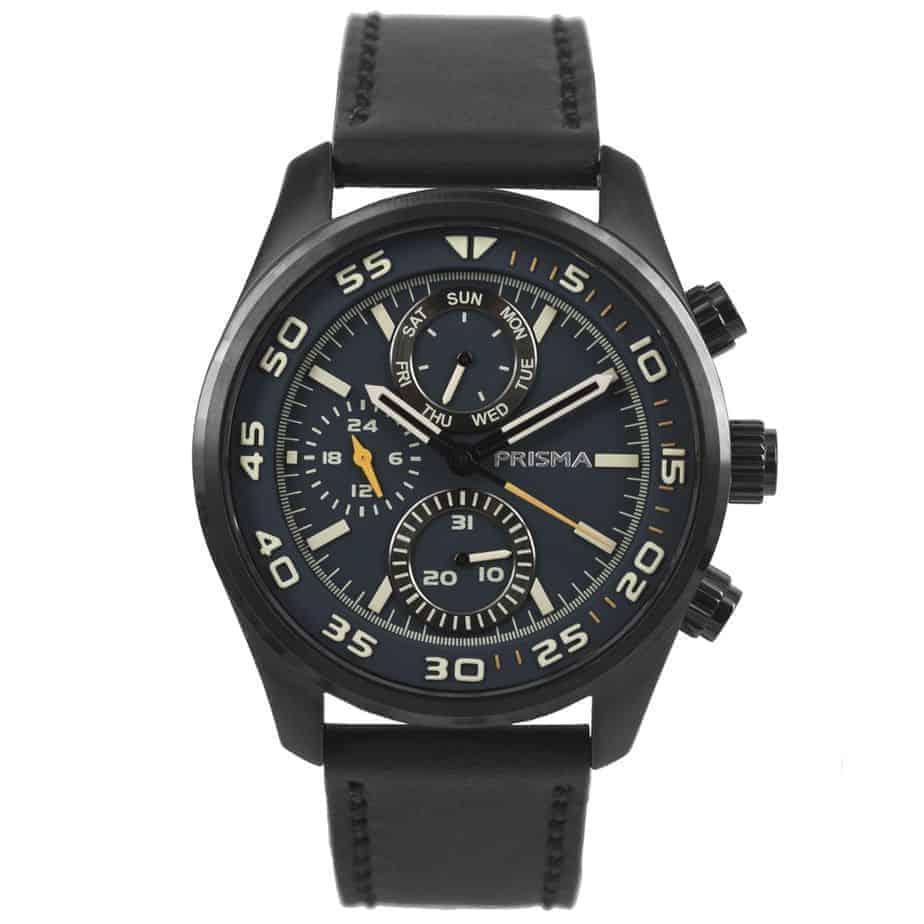 Prisma P1826 heren horloge chronograaf zwart leer
