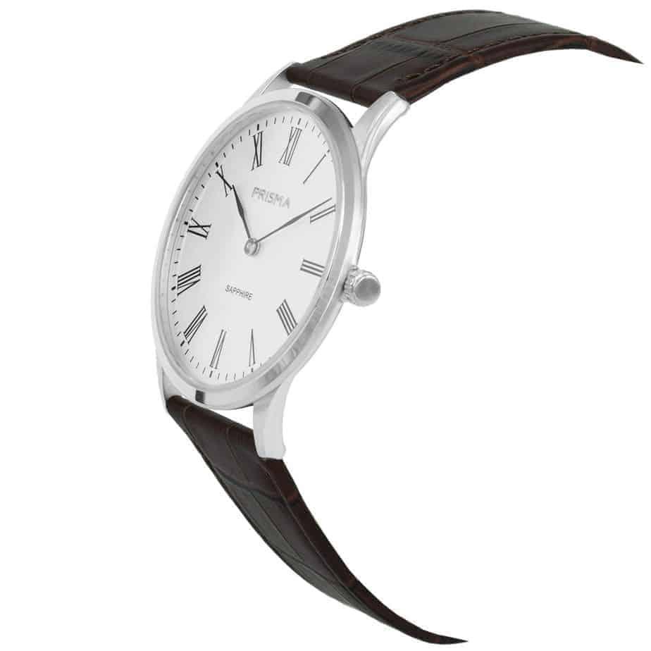 Prisma-P1886-heren-horloge-slimline-edelstal-zilver-schuin-l
