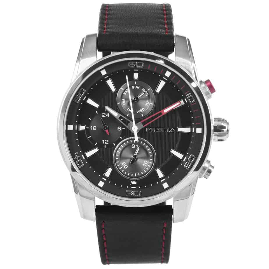 Prisma P.1590 Watch for men multifunctie traveller rood