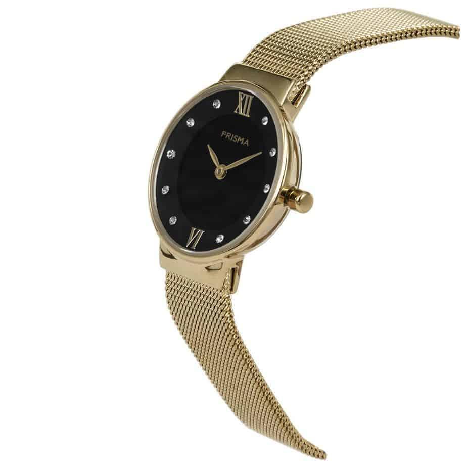 Prisma P1459 dames horloge edelstaal goud schuin