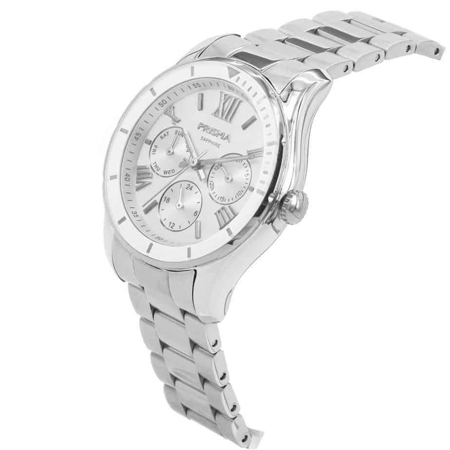 prisma p1890 dames horloge edelstaal schuin royal fertile zilver