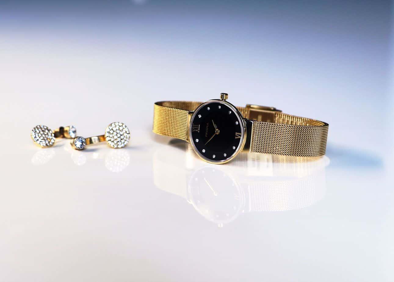 prisma icon petit dameshorloge milanese horlogeband goud zwart