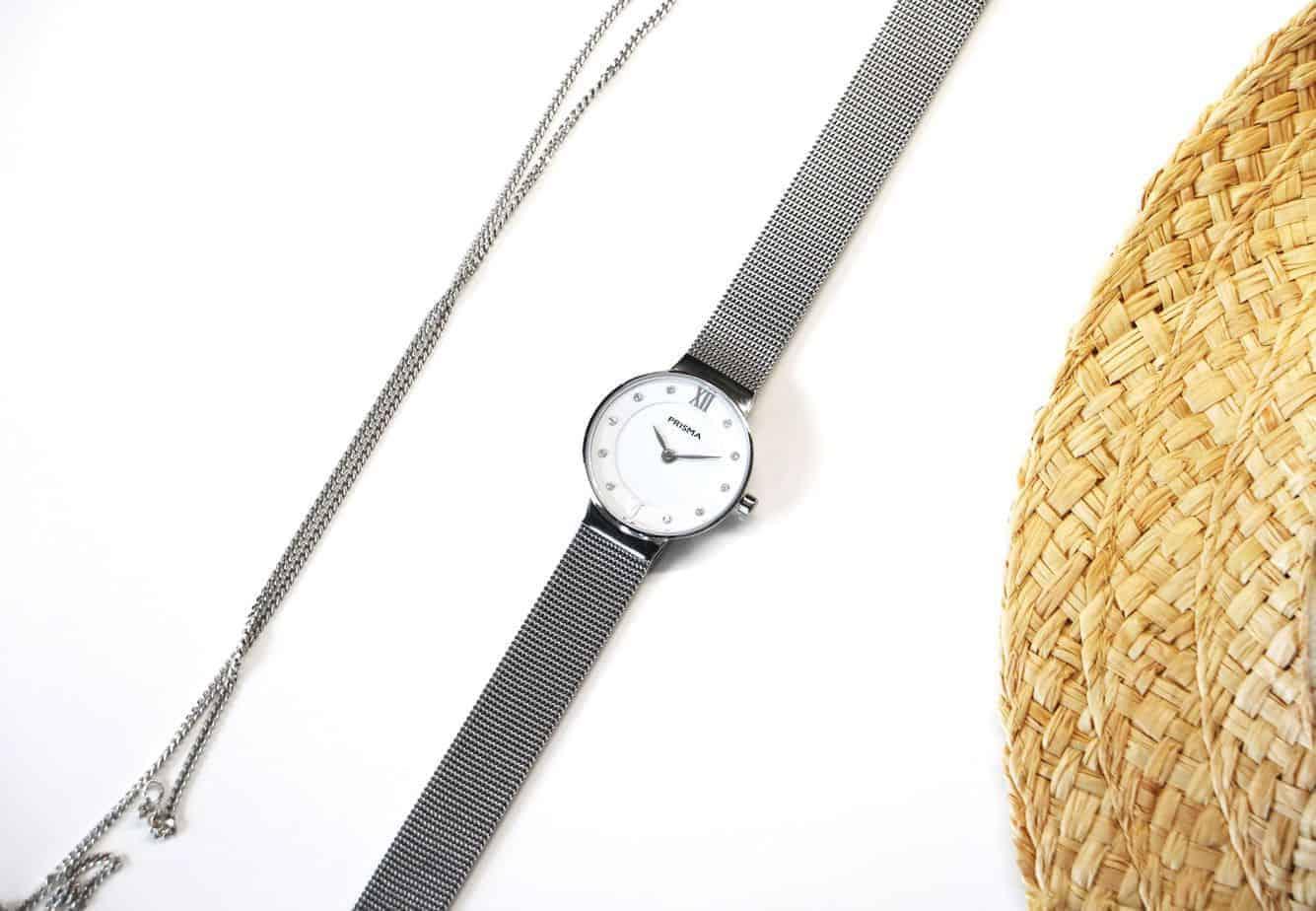 prisma icon petit dameshorloge milanese horlogeband zilver wit