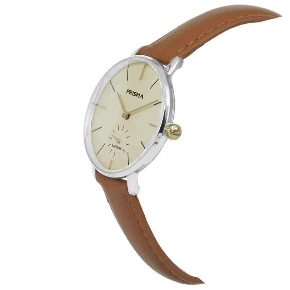 Prisma-P1440-dames-horloge-bicolor-cognac-schuin