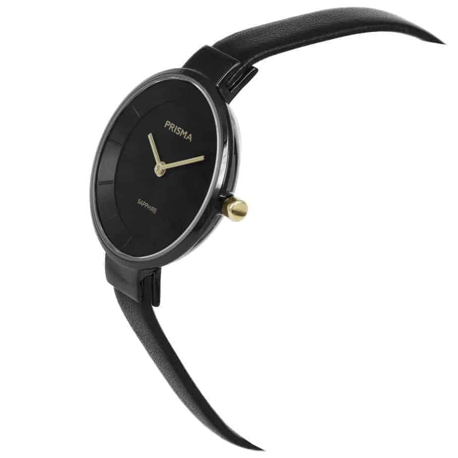 Prisma-P1928-dames-horloge-edelstaal-zwart-schuin