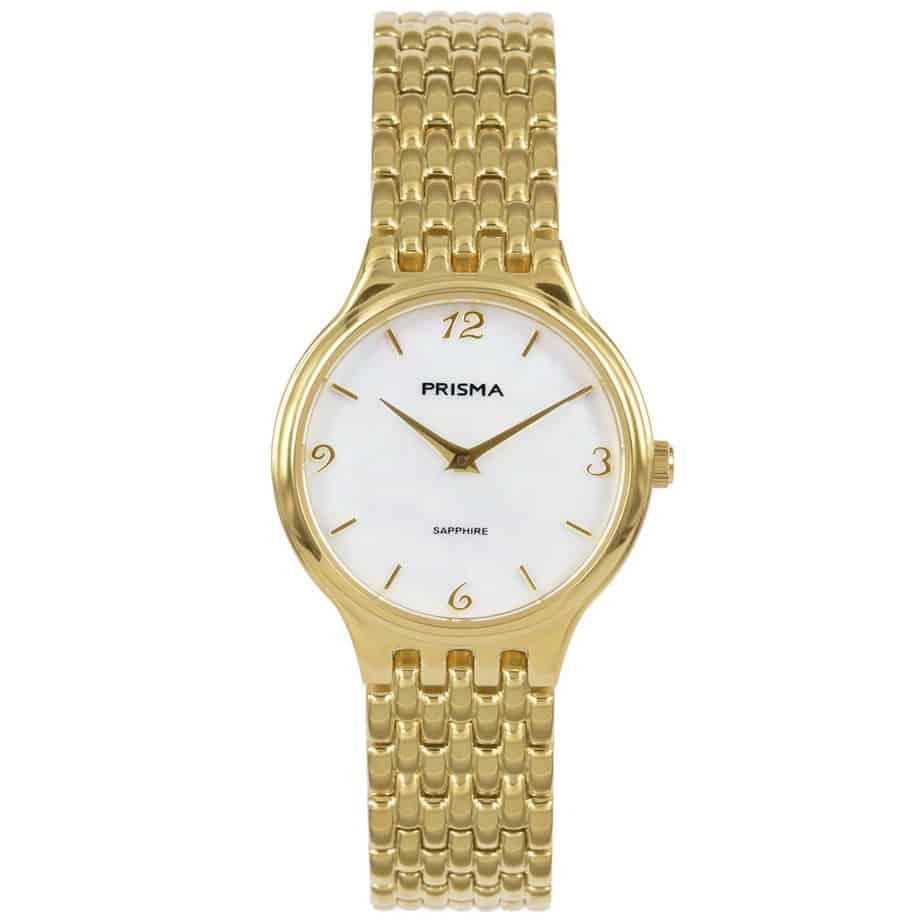 Prisma P1277 dames horloge titanium goud parelmoer
