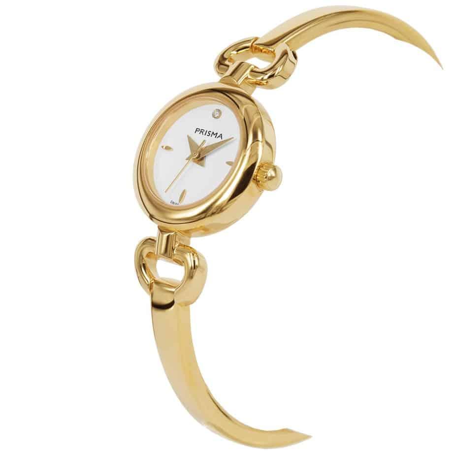 Prisma P1561 dames horloge edelstaal goud slavenband