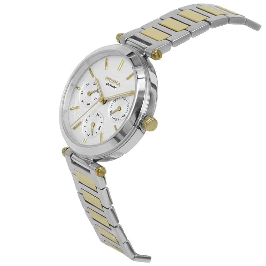 Prisma-P1342-dames-horloge-multifunctie-bicolor-edelstaal-schuin