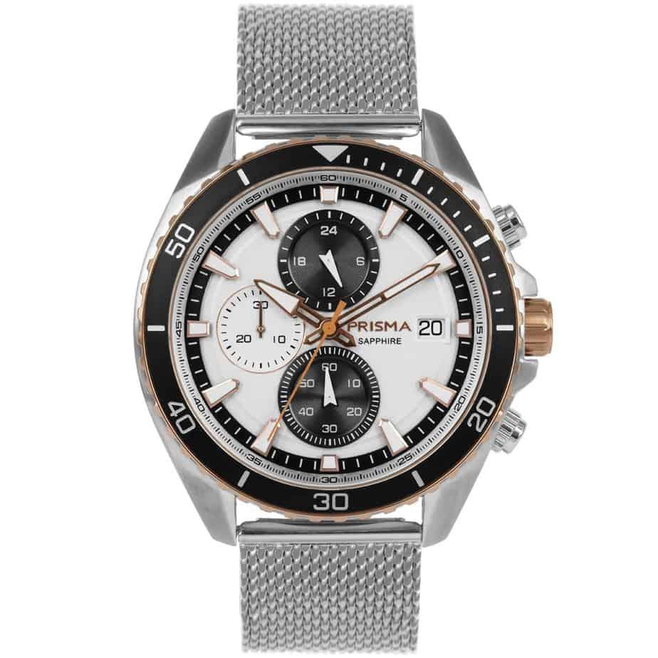 Prisma 1327 Master Rosegold Roségoud P.1327 heren horloge chronograaf mesh rosegoud