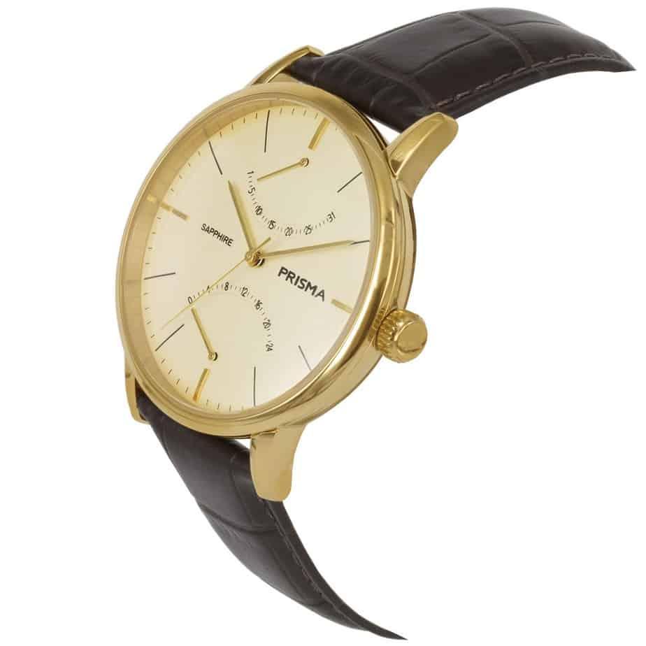 Prisma P1602 heren horloge edelstaal goud bruin dome schuin