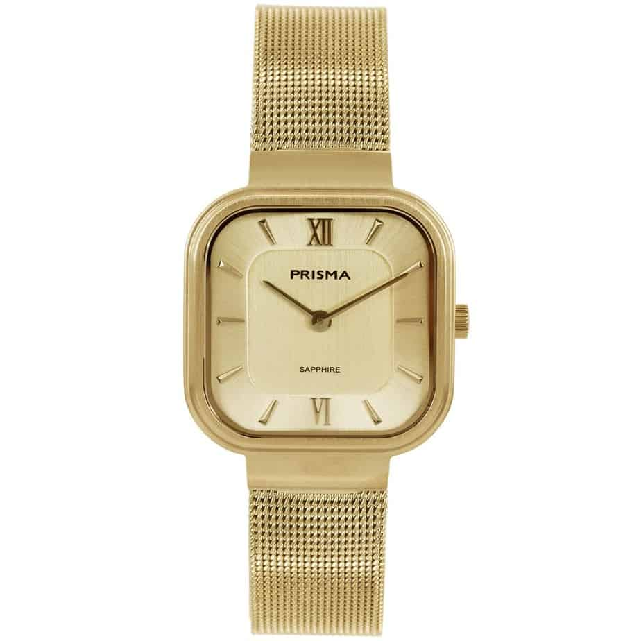 Prisma-P1871-dames-horloge-edelstaal-goud-vierkant