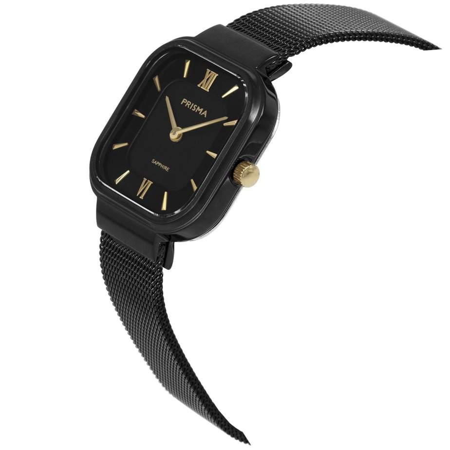 Prisma-P1872-dames-horloge-edelstaal-vierkant-zwart-schuin