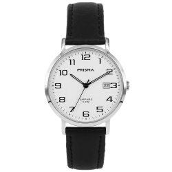 Prisma 1740 horloges heren datum saffierglas zwart leer